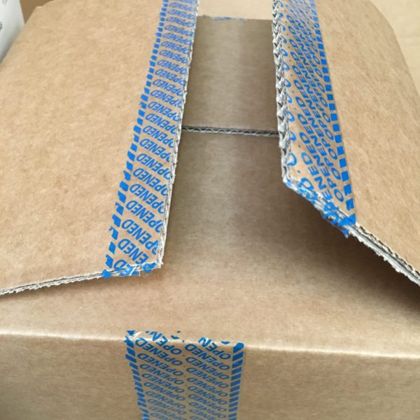 Blue covert permanent tamper evident box tape void message