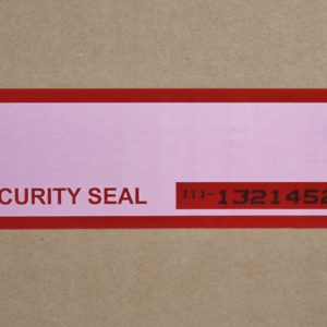 red tamper evident security box tape with subsurface numbering and white panel