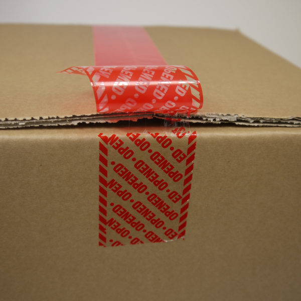 Permanent red covert tamper evident security box tape from Tamper Technologies