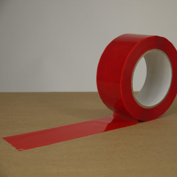 Red permanent tamper evident box tape being applied