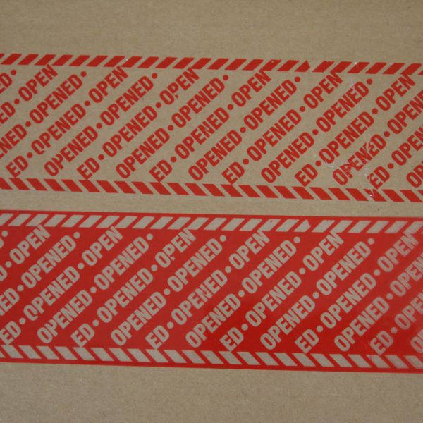 Red permanent tamper evident box tape once removed