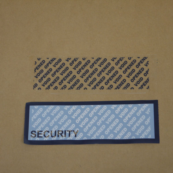 Blue permanent tamper evident box tape with void message