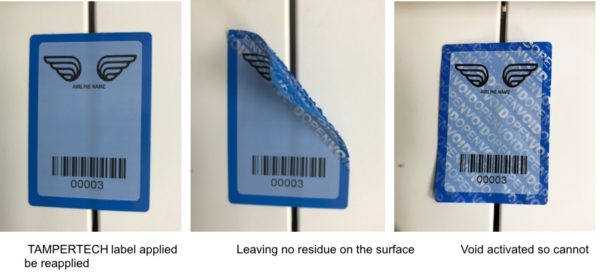 Blue non-residue tamper evident security label designed for aircraft