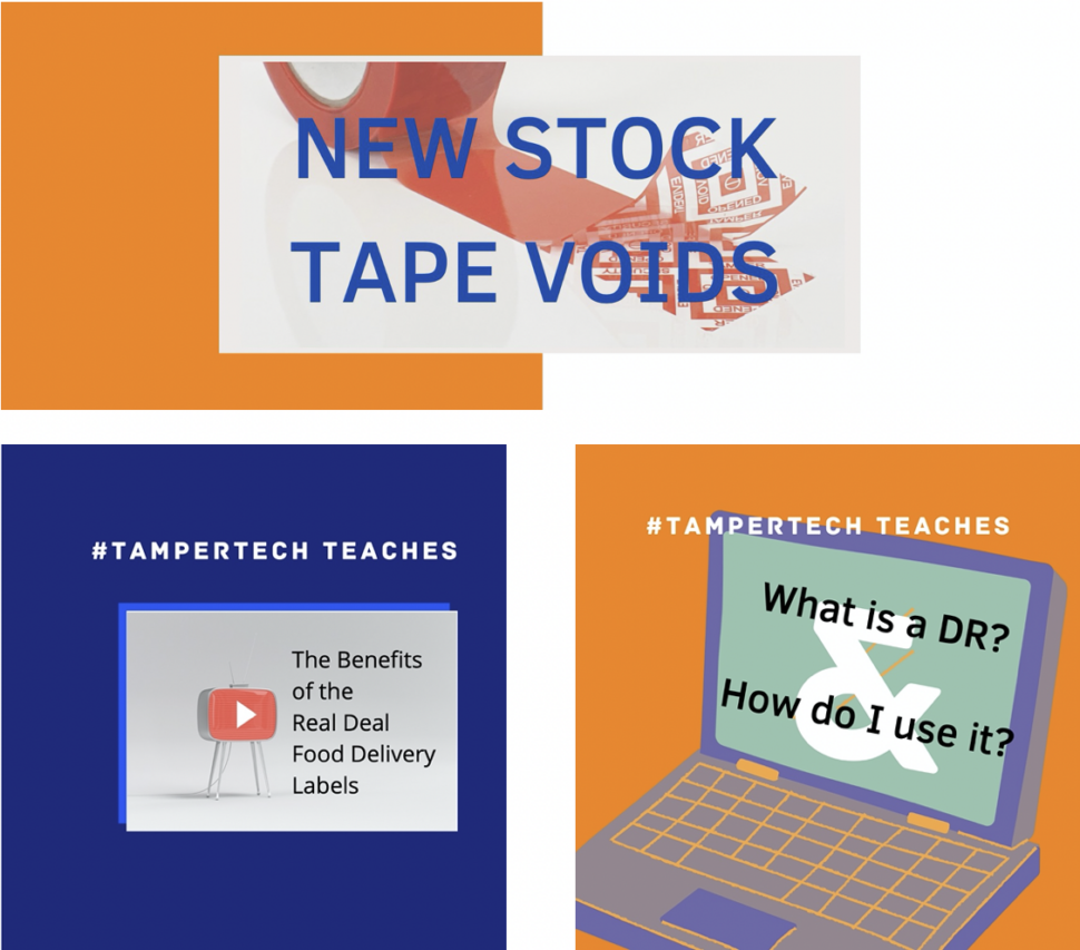 exciting news thumb nail introducing our new Stock tamper evident void messages, learning zone and YouTube channel