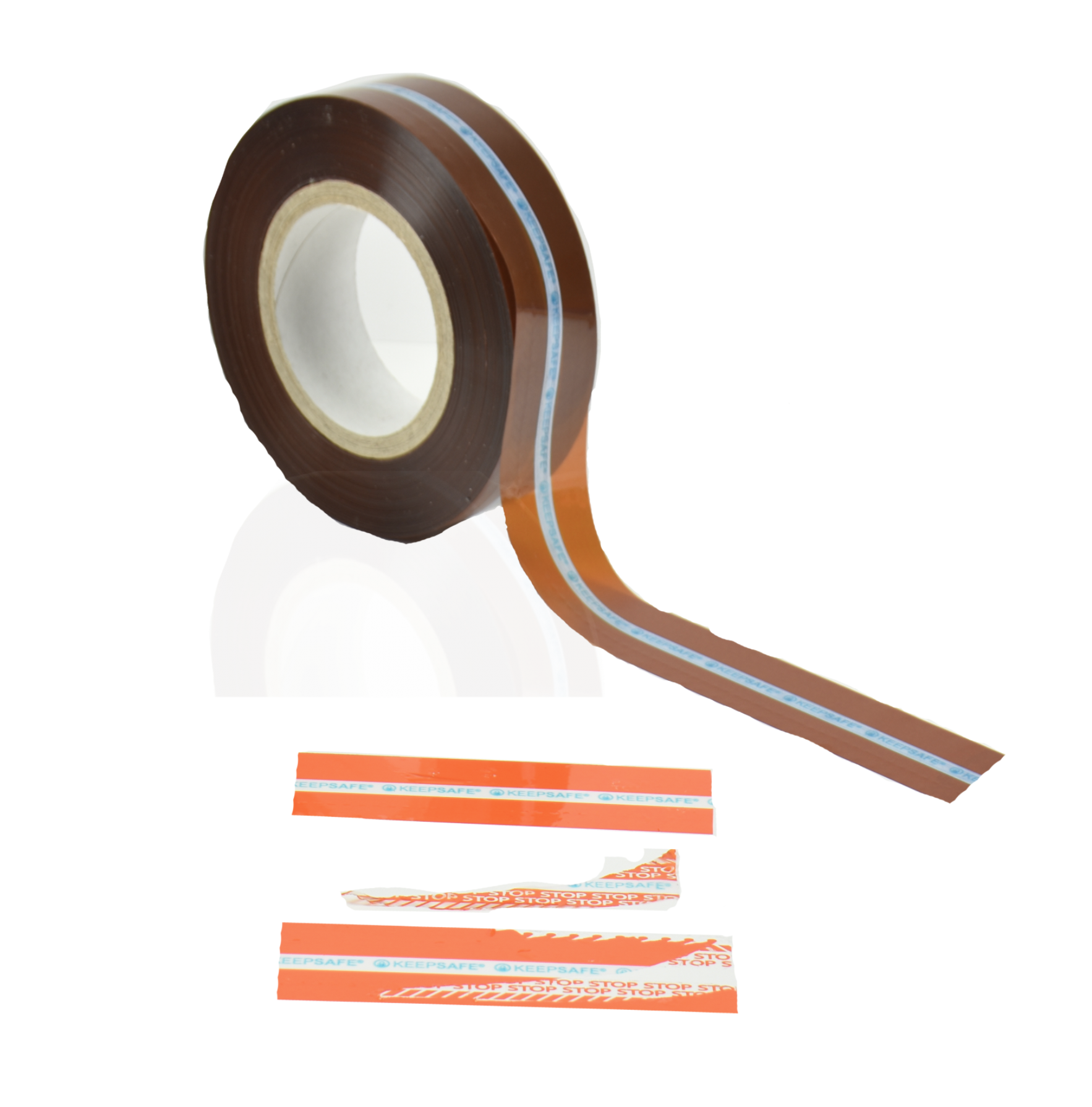 Orange Tamper Evident Security Bag Tape with Security Cuts and Water Fugitive Ink