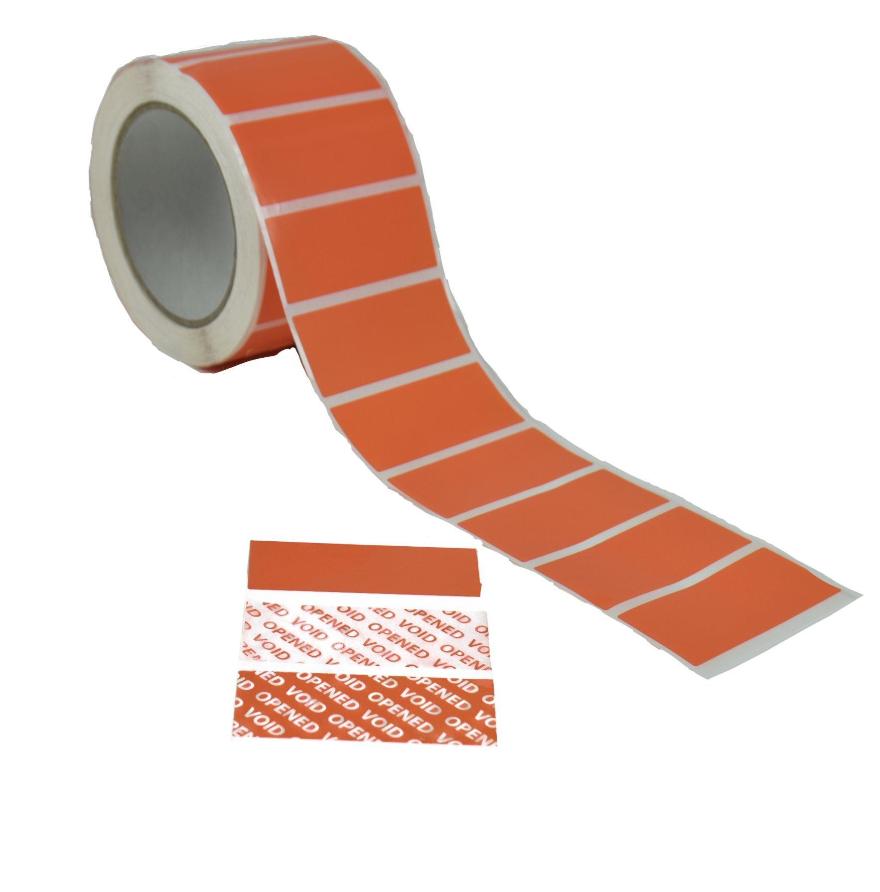 Orange P2350 Tamper Evident Security Label with reverse transfer void message