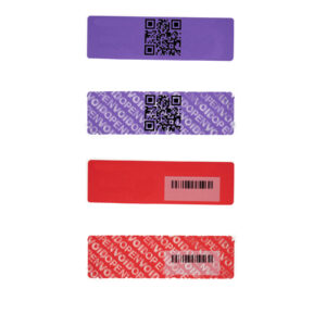 Tamper Evident security labels with Barcode and QR code