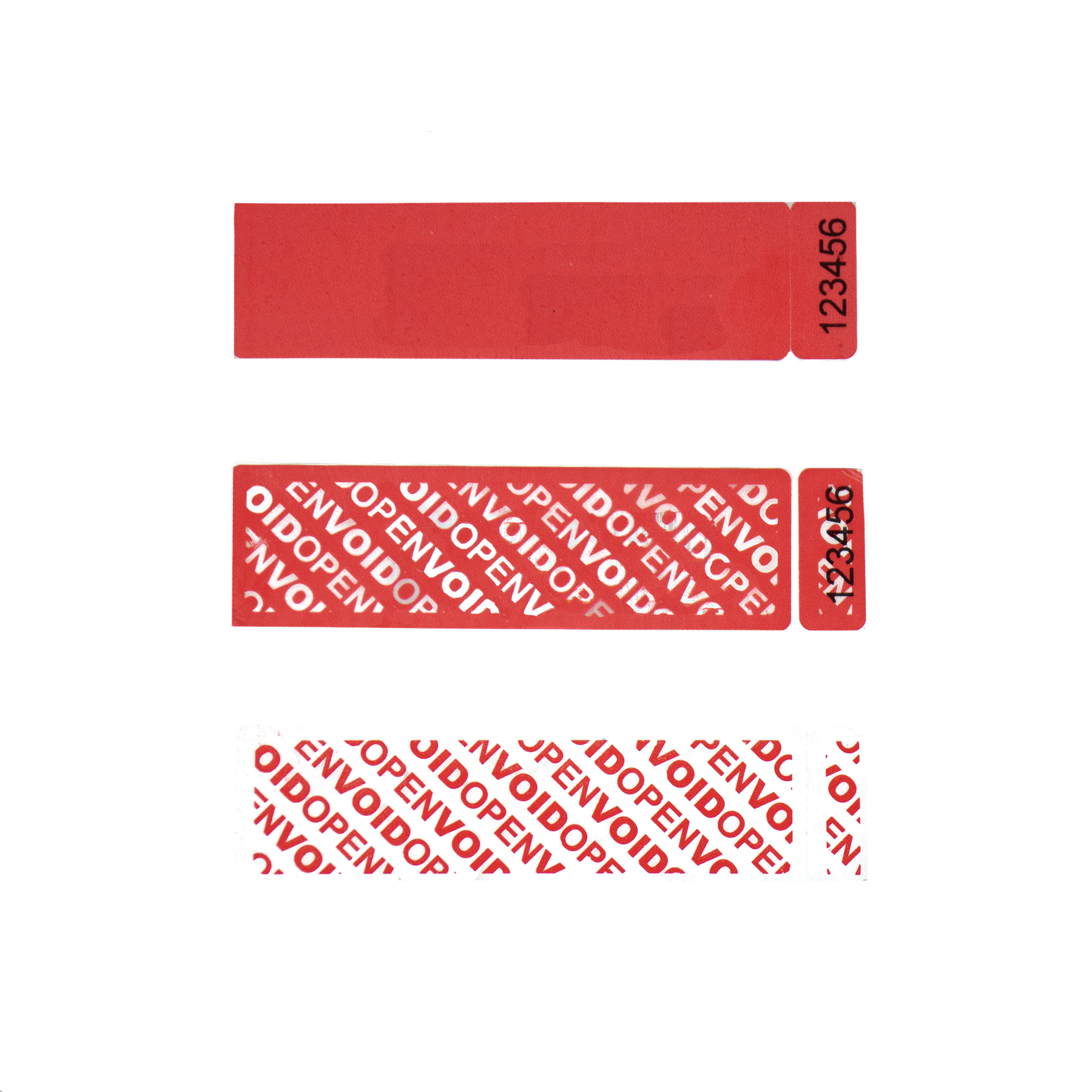 Red tamper evident security label with Dual Number Tab and numbers