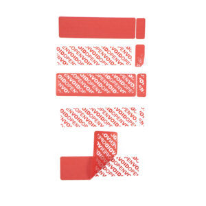 Red Tamper evident label stages of Void With receipt tab