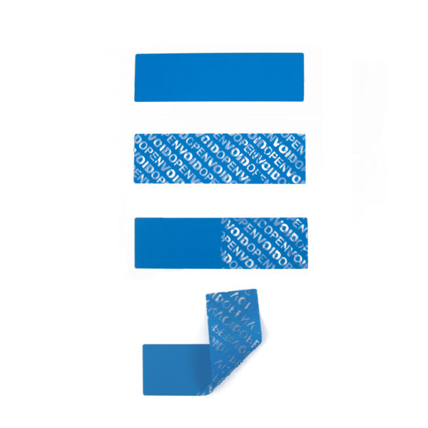 Blue Non Residue Tamper Evident Label Stages of void