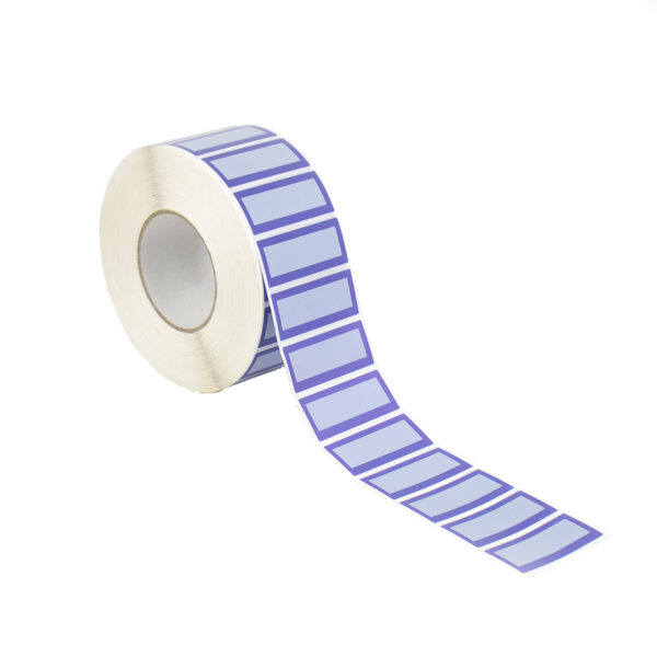 Purple tamper evident security label with white panel 70mm x 30mm