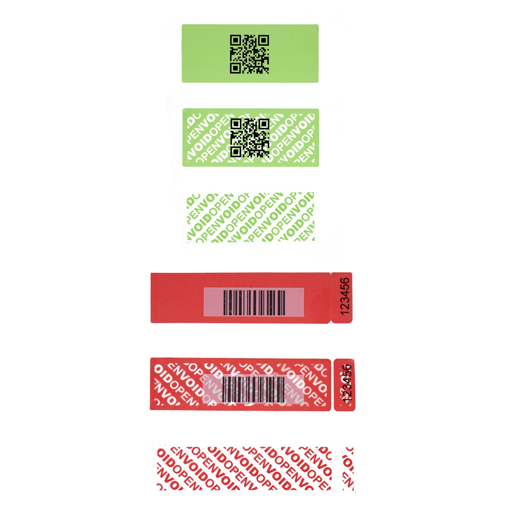 Permanent Tamper evident Security label with QR and Barcode