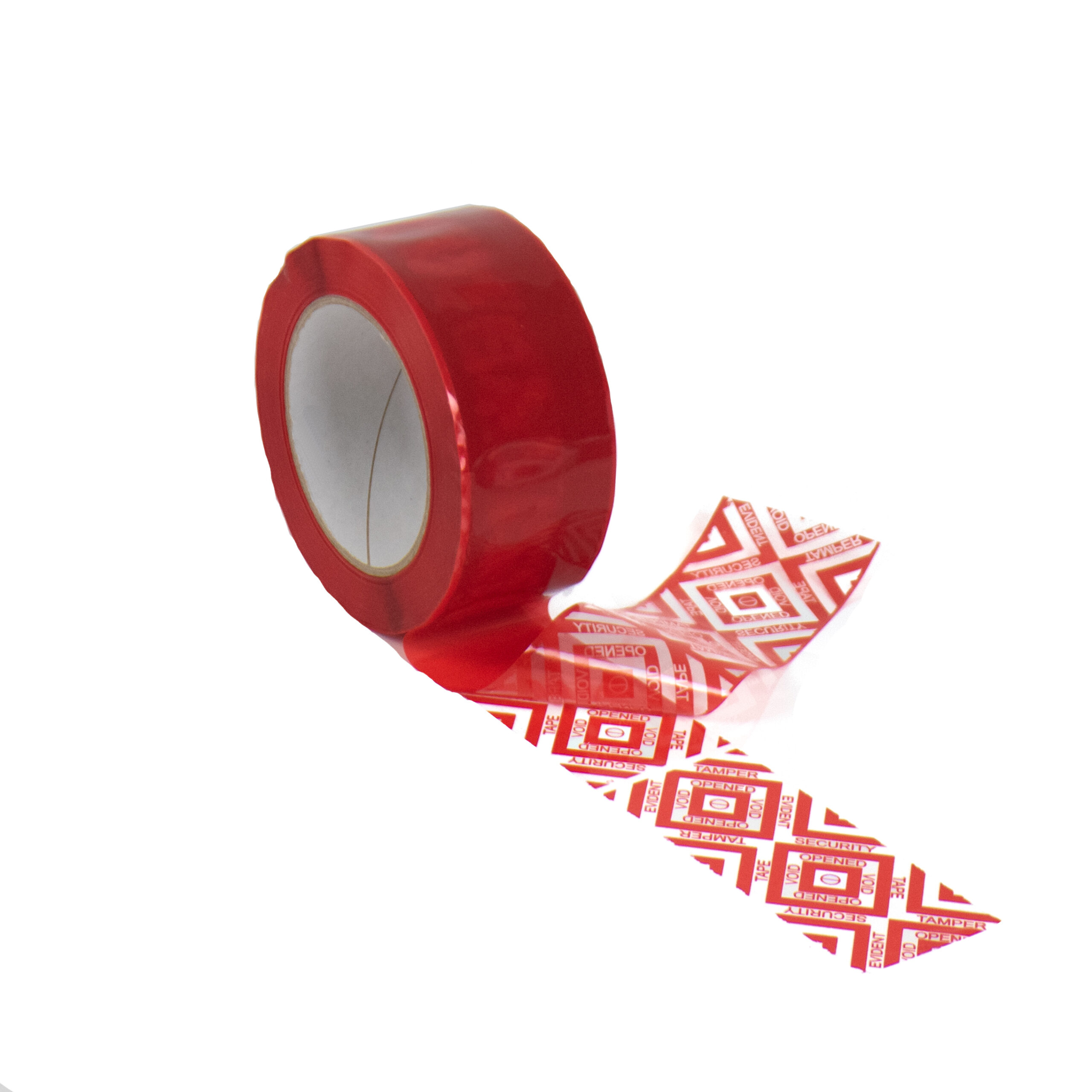 red covert tamper evident security box tape with new standard void pattern