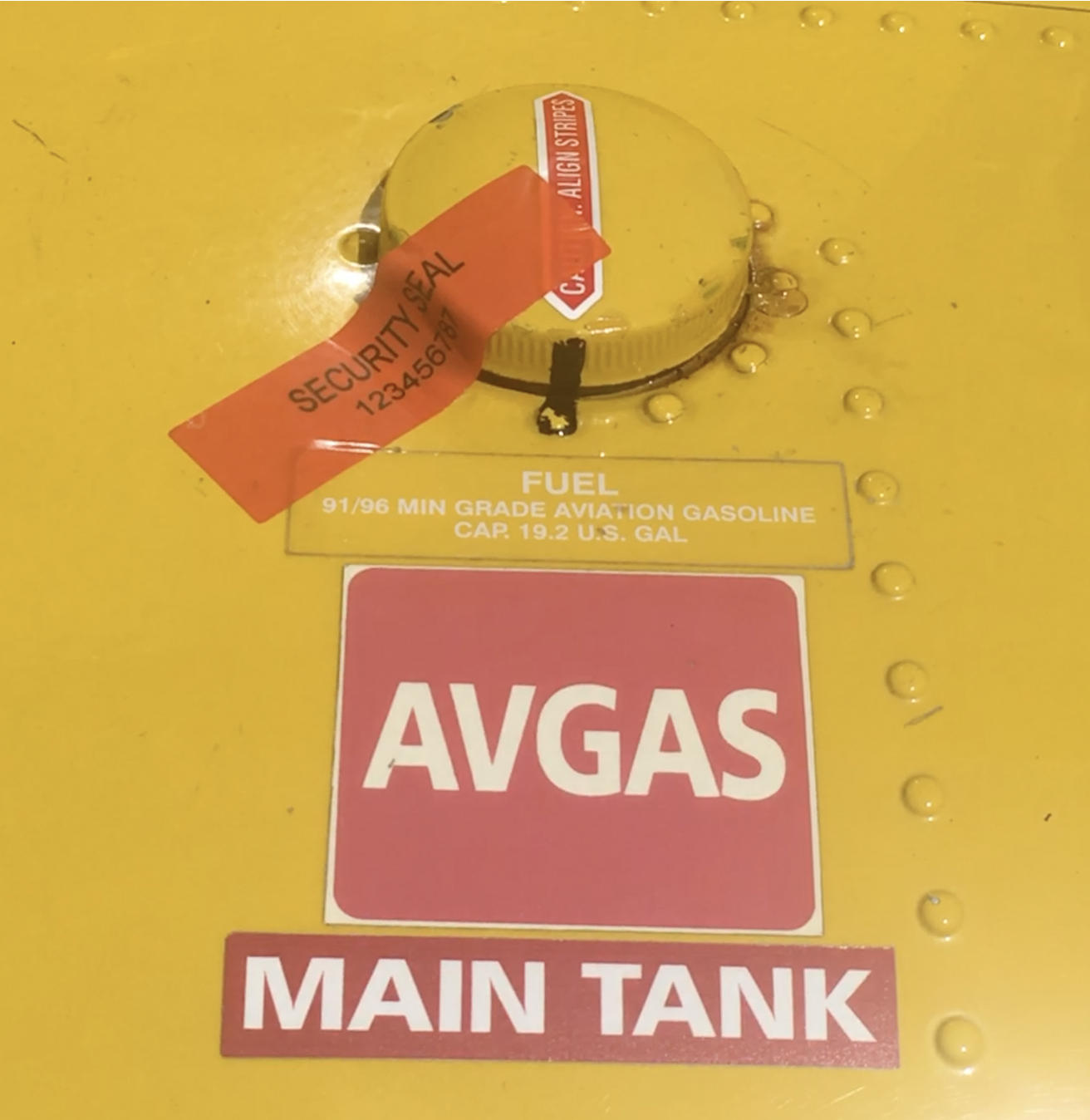 Tamper Evident Security Label on Helicopter fuel tank