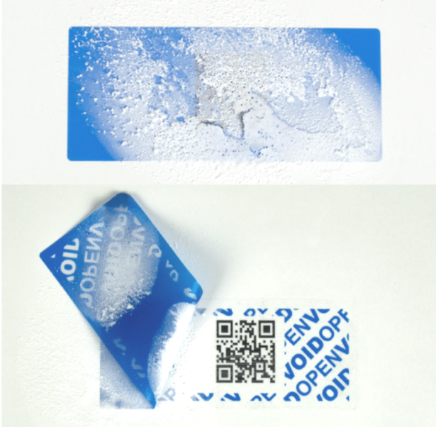Blue Tamper Evident permanent label with subsurface QR code working when frozen