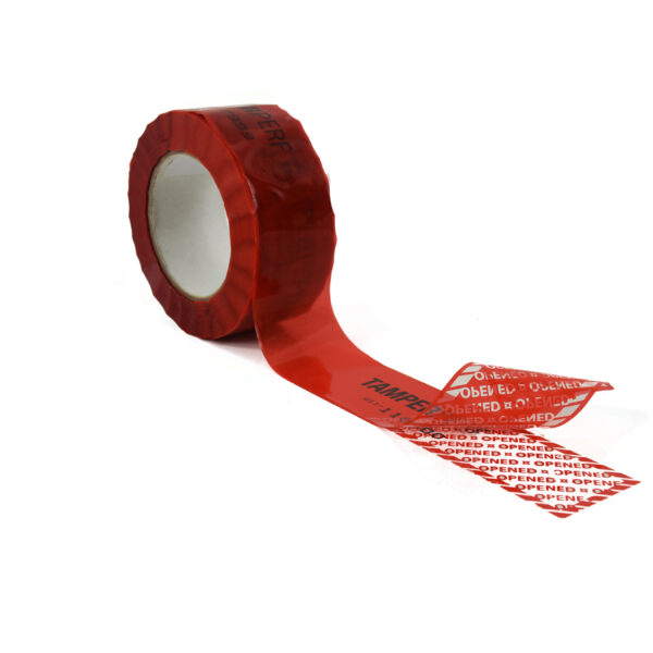 Red tamper evident security box tape with subsurface printing
