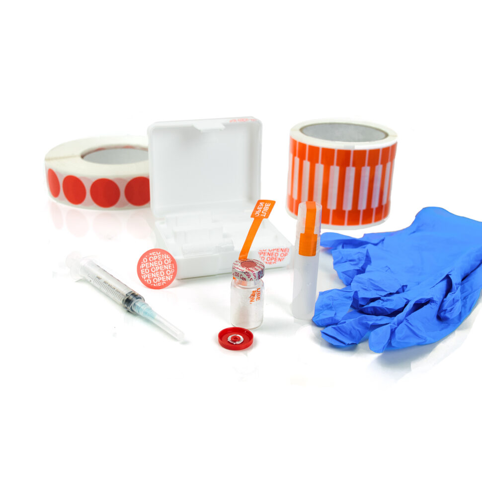 Box and viles tampered with Medical Blue Gloves][