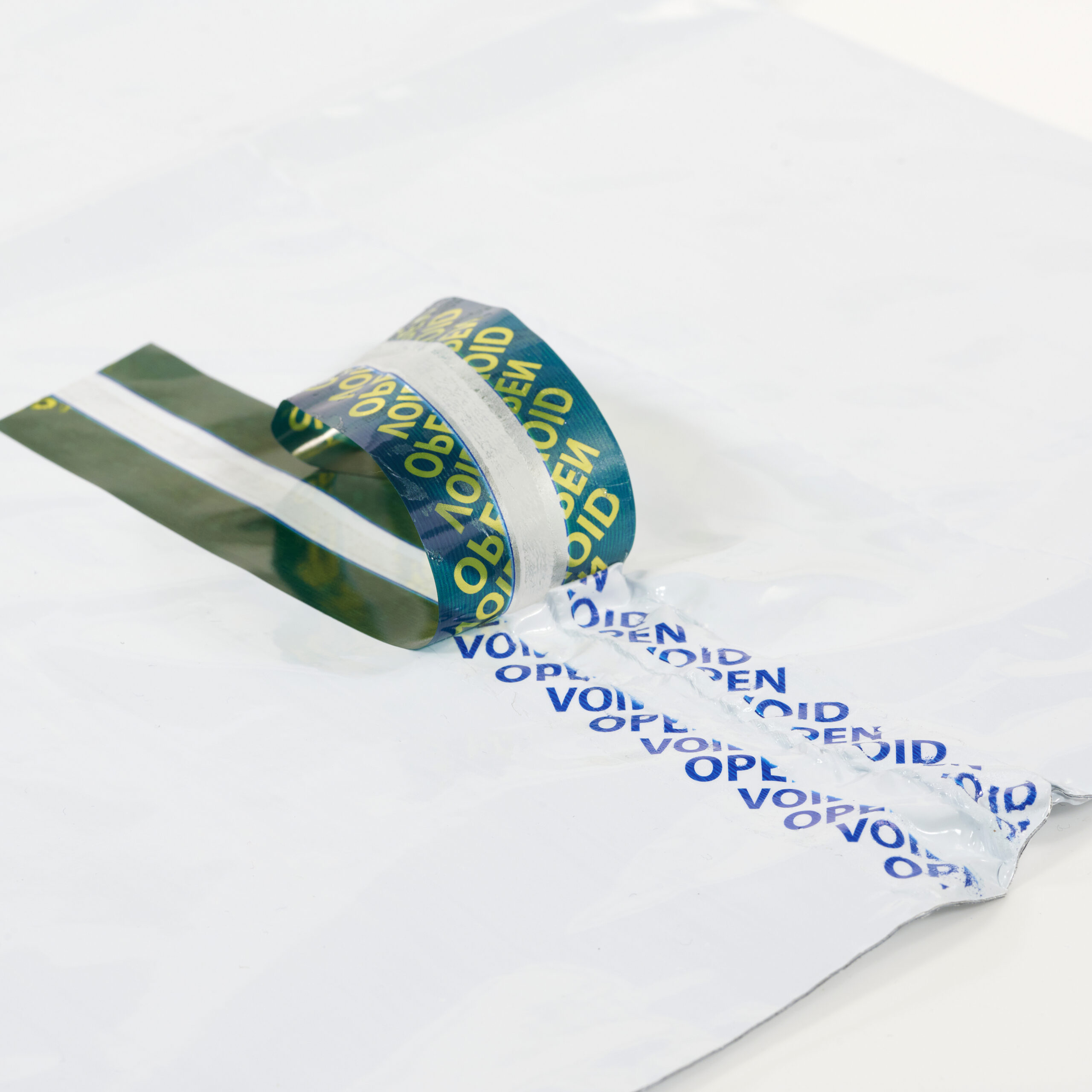 tamper evident bag tape green with blue void
