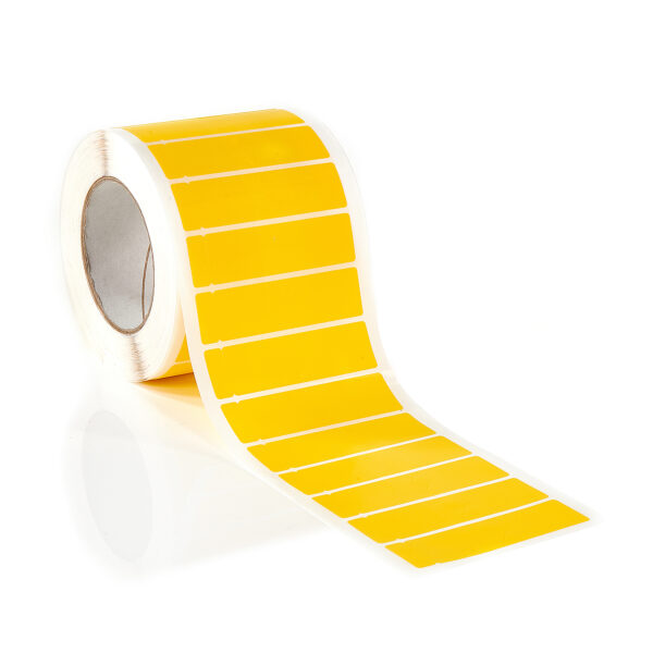 yellow non residue tamper evident labels with Dual number Tab