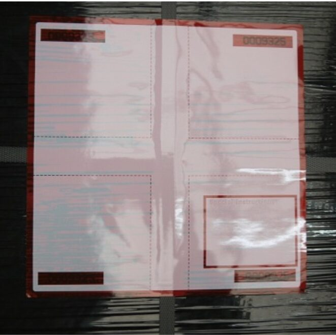 Label On pallet wrap and stapping