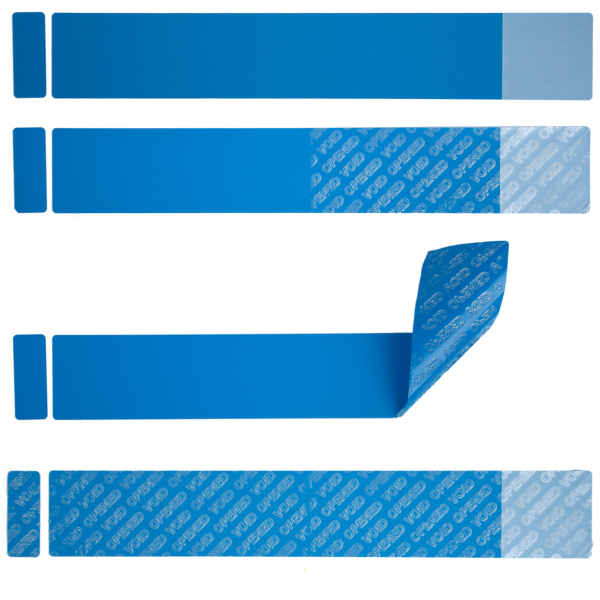Blue non residue tamper evident labels