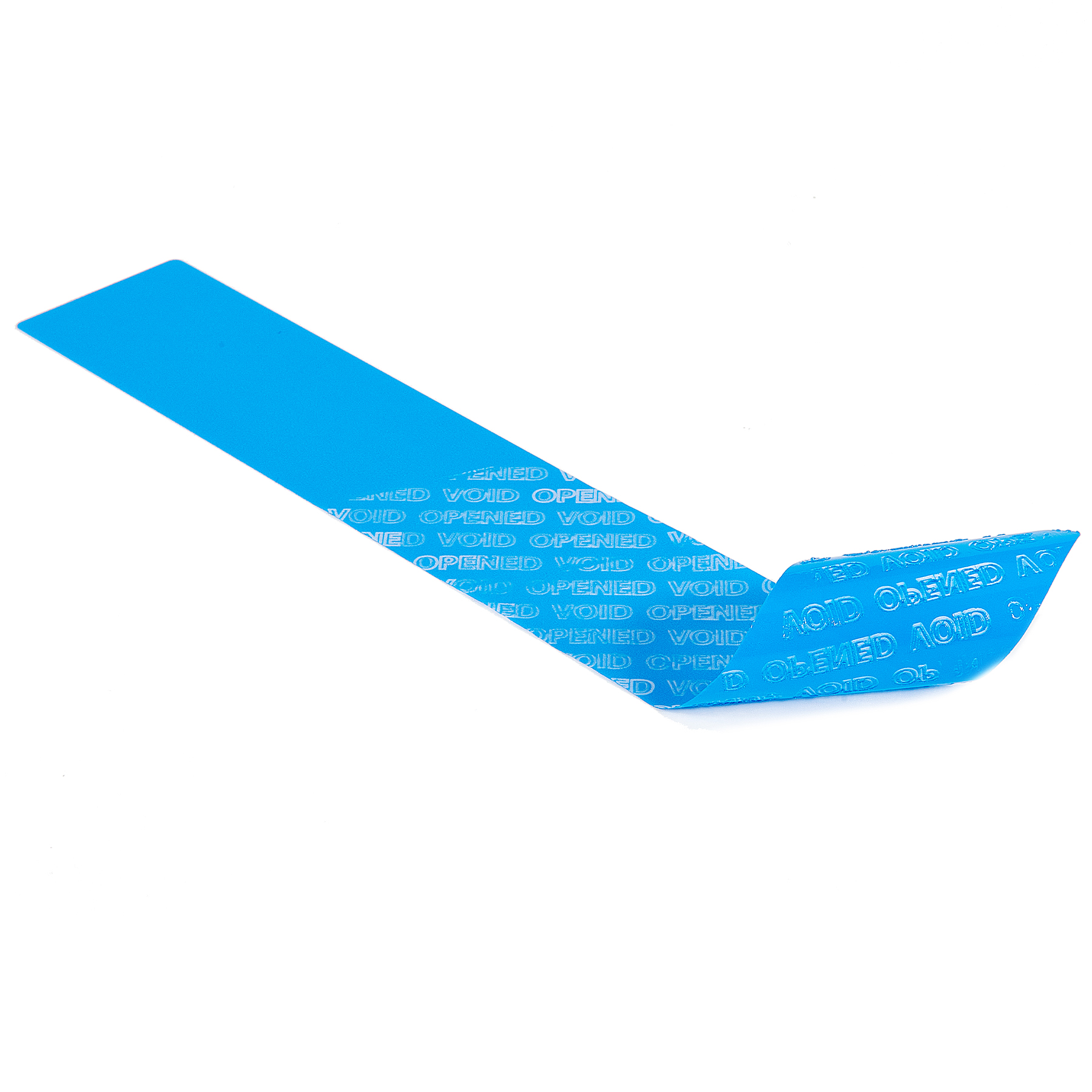 Long Blue Tamper Evident non Residue Label