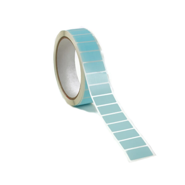 Clear Blue Labels on Roll