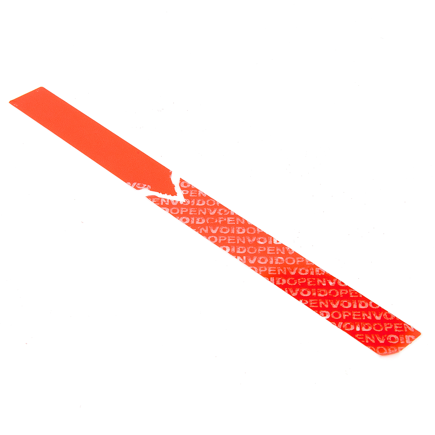Red Non Residue 220mm x 20mm Tamper evident label with security Cuts