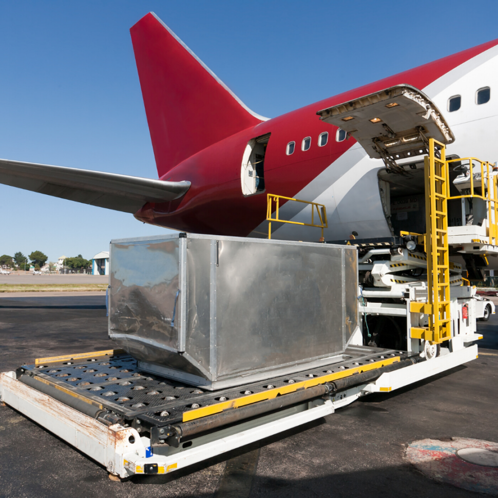 Air freight being loaded into a plane