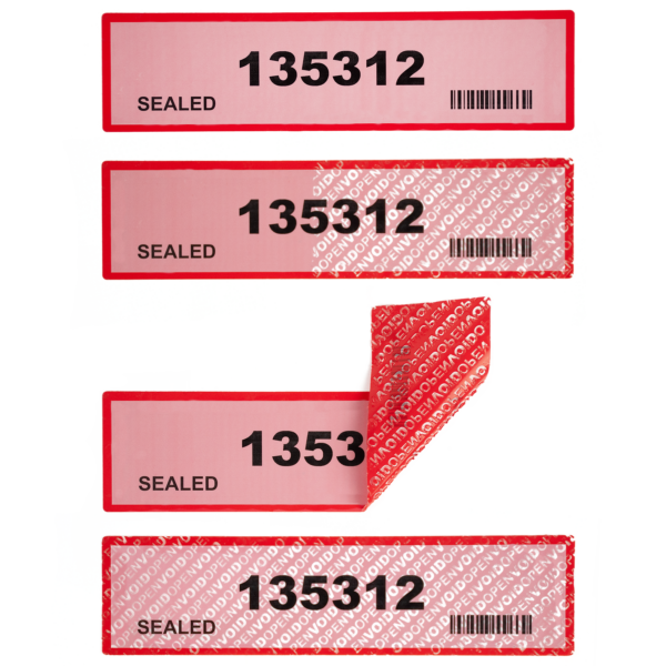 red non residue tamper evident labels with numbering