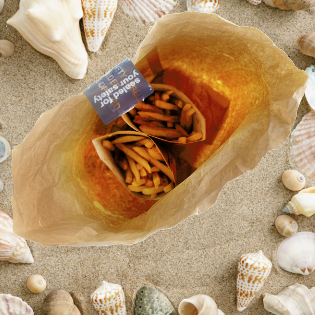 Fast food on beach with tamper evident labels